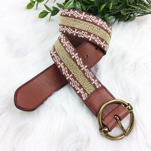 Lucky Brand Embroidered Leather Fabric Boho Belt